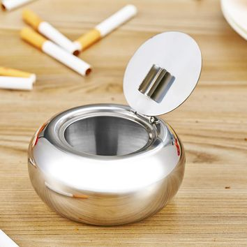 Portable Stainless Steel Cigarette Ashtray Smokers Ash Container Tobacco Tray Brand New