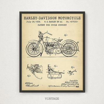 Harley Davidson Motorcycle Patent Printable, Motorcycle Poster, Boys Room Decor, Motorcycle Enthusiast, Vintage Motorcycle Blueprint Art