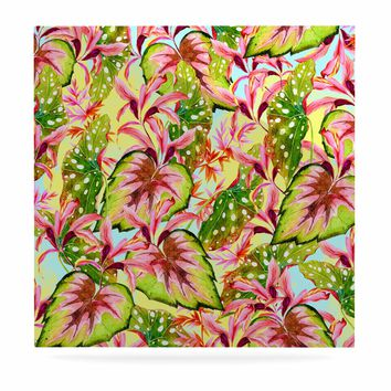 "Mmartabc ""Exotic Botanical Pattern"" Yellow Pink Illustration Luxe Square Panel"