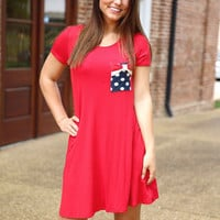 Dainty Patriot Dress - red