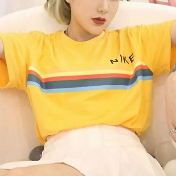 NIKE New fashion bust letter rainbow stripe print couples short sleeve t-shirt top Yellow