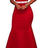Grace's Secret Women's Sexy One Shoulder Ponti Gown Mermaid Evening Maxi Party Dress