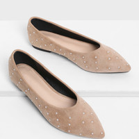 Faux Pearl Decorated Pointed Toe Flats -SheIn(Sheinside)