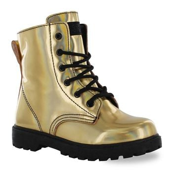 Gotta Flurt Luna Girls' Combat Boots (Yellow)