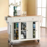 Natural Wood Top Kitchen Cart in White Finish by Crosley Furniture