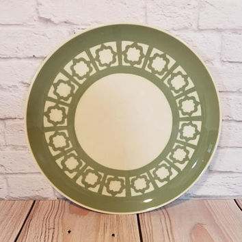Vintage Harkerware Sage Green Persian Key Dinner Plate