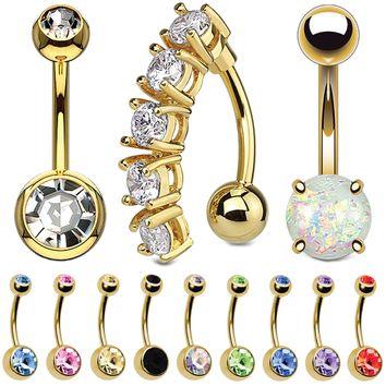 BodyJ4You 12PCS Belly Button Ring Set CZ Created-Opal Goldtone Steel Navel Bar Piercing Value Pack