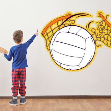 FIRE VOLLEYBALL NET WALL DECAL REMOVALBE REPOSITIONABLE FATHEAD STYLE