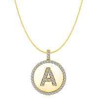 """A"" Diamond Initial 14K Yellow Gold Disk Pendant (0.53ct)"