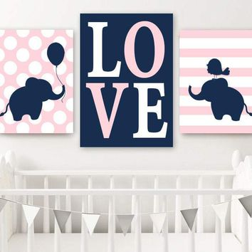 Girl ELEPHANT Nursery Wall Art Canvas or Prints  Baby Girl Elephant Decor, Twin Nursery Decor, Twin Navy Pink Elephant Wall Decor Set of 3