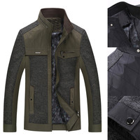 Heathered Stand Collar Front Pockets Zippered Paneled Jacket