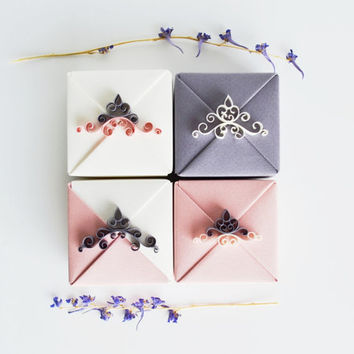 Bridesmaid Gift Box Set, Small Origami Jewelry Gift Boxes with Paper Quilling Ornaments, Pink, White and Purple