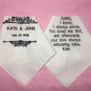 1 Set/ 2pcs Wedding Handkerchiefs for Parents of the Bride and Groom, Embroidered