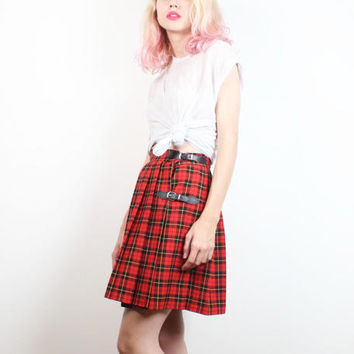Vintage 1990s Skirt Red Black Plaid Kilt Faux Leather Straps Buckles Micro Mini Skirt 90s Skirt Punk Grunge High Waisted XS Extra Small S
