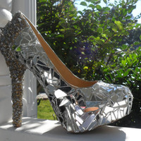 Customized Mirror Mosaic Heels with Spikes
