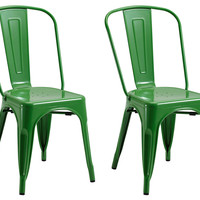Green Liv Metal Chairs, Pair, Side Chairs