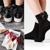 Women new Bowknot Korea style Solid fashion beautiful cotton socks pink colorful Japanese design sister crystal casual