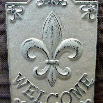 Fleur de lis Ornate Welcome Decorative Cast Iron Rectangular Plaque Off White Cream Distressed Wall Decor French Decor, Paris, Shabby Chic