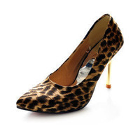 Leatherette Upper Stiletto Heel Pumps With Animal Print Party/ Evening Shoes - $19.91