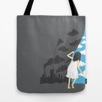 Hey, Mr Blue Sky Tote Bag by ilovedoodle