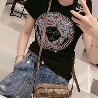 """""""Versace"""" Woman Casual Wild Fashion Letter Print Short Sleeve Tops"""
