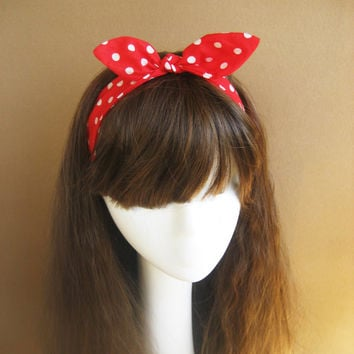 3 Pattern Cotton Headband - Bow Fabric Hair Wrap - USA Flag Head Scarf - Tie Up Bow Headband - Hair Band