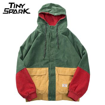 Men Winter Corduroy Jacket Red Patchwork High Street Hooded Jacket Coat