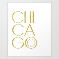 Chicago Print,City Print,Home Decor,Wall artwork,Chicago Poster,Typography Print,Gold Typography,Art Art Print by MichelTypography