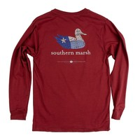 Authentic Texas Heritage Long Sleeve Tee in Maroon by Southern Marsh