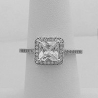 6mm Princess Cut Vintage Style Halo Engagement Ring
