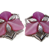 Vintage Lucite Earrings Light Purple Pink Silver Tone Mid Century Womens Clip Back Fashion Jewelry