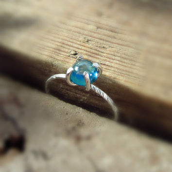 Claw Ring Sterling Silver with Rainbow Topaz Gemstone
