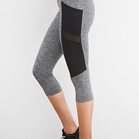 Heathered Texture-Panel Capri Leggings