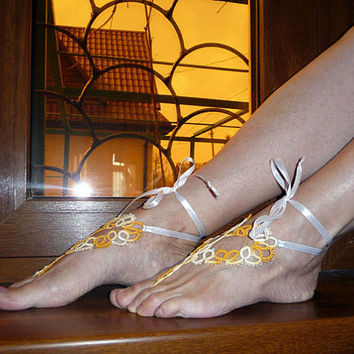 Handmade Barefoot sandals tatting - white and yellow - tatting lace - for her - dance - wedding