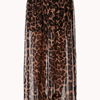 FOREVER 21 Leopard Print Maxi Skirt Taupe/Brown X-Small