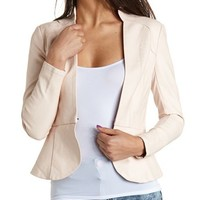 Faux Leather Peplum Blazer