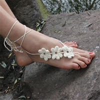 Barefoot Sandals Beach Wedding Bridal Yoga dance Foot Jewelry Knit Ankle Bracelet Tornozeleira Pulseras Tobilleras 1pair = 1932956484