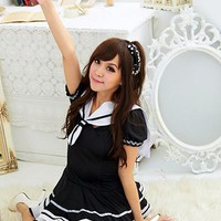 2017 New Cute Navy Women Dress/Students Uniform Lace Dress/Sexy Japanese School Girl Sailor Uniform Maid Cosplay Costume