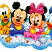 Disney Babies Baby Mickey Baby Pluto Baby Minnie Baby Donald Duck floating on cloud Iron On Transfer for T-Shirt ~ Disney