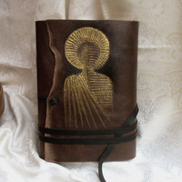 Feelings - Leather Journal in Brown with thick Vintage Style Pages