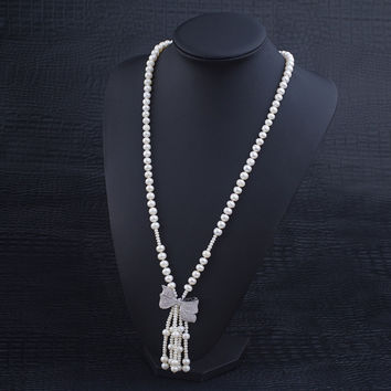New Arrival Shiny Stylish Gift Pearls Princess Butterfly Jewelry Necklace [4914831620]