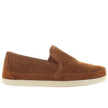 VONES2C Minnetonka Pacific - Brown Perforated Suede Slip-On Moc Loafer