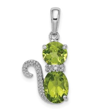 Sterling Silver Peridot And Diamond Cat Pendant