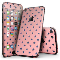 Navy Stars Over Coral Pattern - 4-Piece Skin Kit for the iPhone 7 or 7 Plus