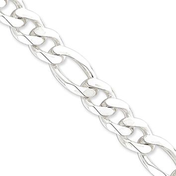 Men's 12.75mm, Sterling Silver, Solid Figaro Chain Necklace, 24 Inch