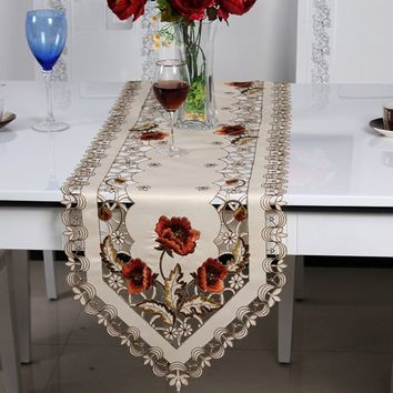 Embroidered Holiday Table Runner Cutwork Table Runner