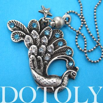 Peacock Bird Animal Charm Necklace with Feather and Rhinestone Details