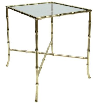 Pre-owned Brass Faux Bamboo Side Table