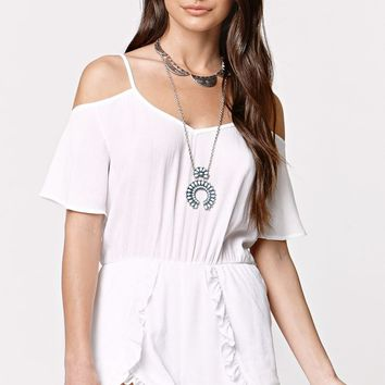 LA Hearts Cold Shoulder Ruffled Tulip Hem Romper - Womens Dress - White