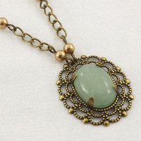 Green Aventurine Pendant on Antique Gold Chain Necklace, Regina Collection